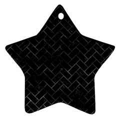 Brick2 Black Marble & Black Watercolor Star Ornament (two Sides)