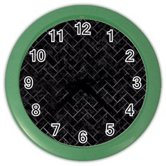 Brick2 Black Marble & Black Watercolor Color Wall Clocks
