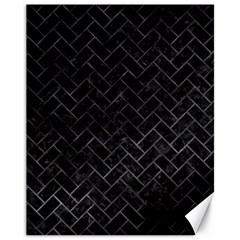 Brick2 Black Marble & Black Watercolor Canvas 11  X 14