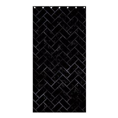 Brick2 Black Marble & Black Watercolor Shower Curtain 36  X 72  (stall)