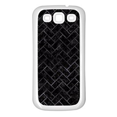 Brick2 Black Marble & Black Watercolor Samsung Galaxy S3 Back Case (white)