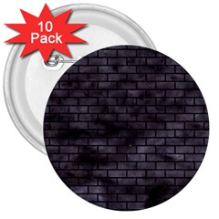 Brick1 Black Marble & Black Watercolor (r) 3  Buttons (10 Pack)