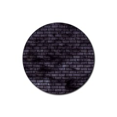 Brick1 Black Marble & Black Watercolor (r) Rubber Round Coaster (4 Pack)
