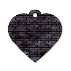 Brick1 Black Marble & Black Watercolor (r) Dog Tag Heart (one Side)