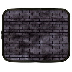 Brick1 Black Marble & Black Watercolor (r) Netbook Case (large)
