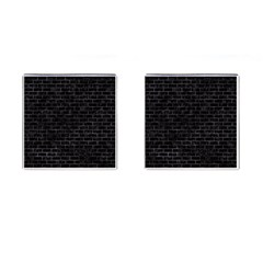 Brick1 Black Marble & Black Watercolor Cufflinks (square)