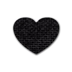 Brick1 Black Marble & Black Watercolor Rubber Coaster (heart)
