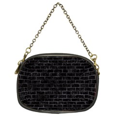 Brick1 Black Marble & Black Watercolor Chain Purses (two Sides)