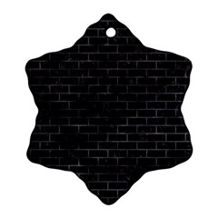 Brick1 Black Marble & Black Watercolor Ornament (snowflake)