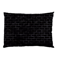 Brick1 Black Marble & Black Watercolor Pillow Case (two Sides)
