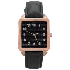 Brick1 Black Marble & Black Watercolor Rose Gold Leather Watch