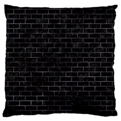 Brick1 Black Marble & Black Watercolor Large Flano Cushion Case (one Side)