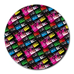 Pattern Colorfulcassettes Icreate Round Mousepads
