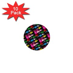 Pattern Colorfulcassettes Icreate 1  Mini Buttons (10 Pack)