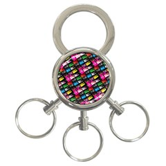 Pattern Colorfulcassettes Icreate 3 Ring Key Chains
