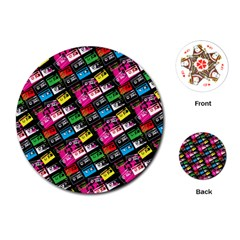 Pattern Colorfulcassettes Icreate Playing Cards (round)