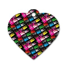Pattern Colorfulcassettes Icreate Dog Tag Heart (one Side)