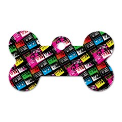 Pattern Colorfulcassettes Icreate Dog Tag Bone (two Sides)