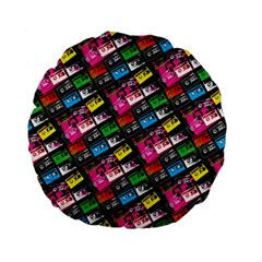 Pattern Colorfulcassettes Icreate Standard 15  Premium Flano Round Cushions