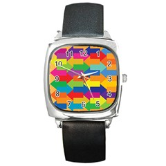 Arrow Rainbow Orange Blue Yellow Red Purple Green Square Metal Watch