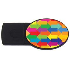 Arrow Rainbow Orange Blue Yellow Red Purple Green Usb Flash Drive Oval (4 Gb)