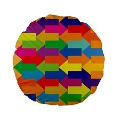Arrow Rainbow Orange Blue Yellow Red Purple Green Standard 15  Premium Flano Round Cushions