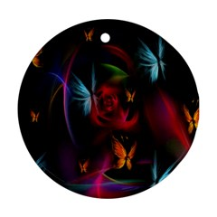 Beautiful Butterflies Rainbow Space Ornament (round)