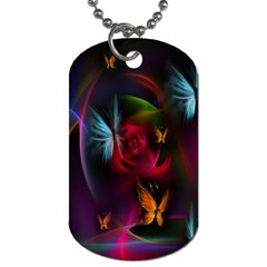 Beautiful Butterflies Rainbow Space Dog Tag (two Sides)