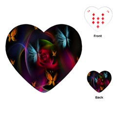 Beautiful Butterflies Rainbow Space Playing Cards (heart)