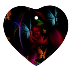 Beautiful Butterflies Rainbow Space Heart Ornament (two Sides)