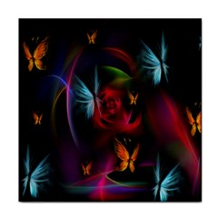 Beautiful Butterflies Rainbow Space Face Towel