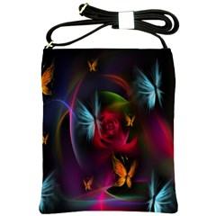 Beautiful Butterflies Rainbow Space Shoulder Sling Bags