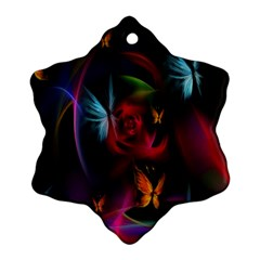 Beautiful Butterflies Rainbow Space Ornament (snowflake)