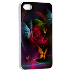 Beautiful Butterflies Rainbow Space Apple Iphone 4/4s Seamless Case (white)
