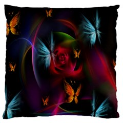 Beautiful Butterflies Rainbow Space Large Cushion Case (one Side)