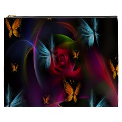 Beautiful Butterflies Rainbow Space Cosmetic Bag (xxxl)