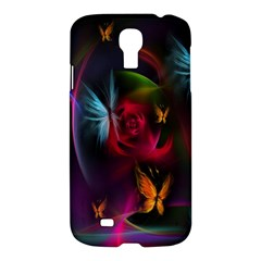 Beautiful Butterflies Rainbow Space Samsung Galaxy S4 I9500/i9505 Hardshell Case