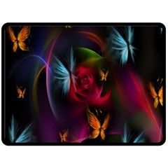 Beautiful Butterflies Rainbow Space Double Sided Fleece Blanket (large)