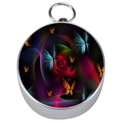 Beautiful Butterflies Rainbow Space Silver Compasses