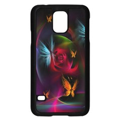 Beautiful Butterflies Rainbow Space Samsung Galaxy S5 Case (black)