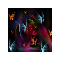 Beautiful Butterflies Rainbow Space Small Satin Scarf (square)
