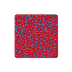 Blue Red Space Galaxy Square Magnet