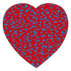 Blue Red Space Galaxy Jigsaw Puzzle (heart)