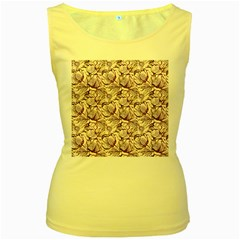 Vegetable Cabbage Purple Flower Women s Yellow Tank Top