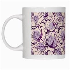 Vegetable Cabbage Purple Flower White Mugs