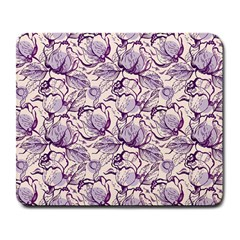 Vegetable Cabbage Purple Flower Large Mousepads