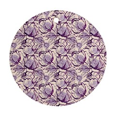 Vegetable Cabbage Purple Flower Round Ornament (two Sides)