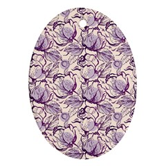 Vegetable Cabbage Purple Flower Oval Ornament (two Sides)