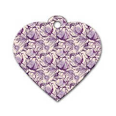Vegetable Cabbage Purple Flower Dog Tag Heart (two Sides)
