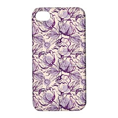 Vegetable Cabbage Purple Flower Apple Iphone 4/4s Hardshell Case With Stand